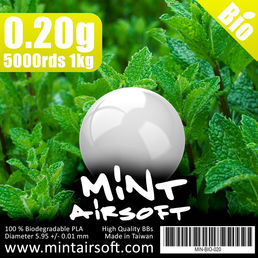 Mint Airsoft 0.20g Biodegradable BBs 5000 Rounds, White